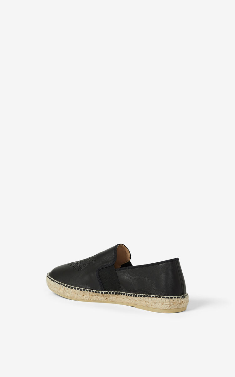 BLACK Elasticated leather Tiger espadrilles for unisex KENZO