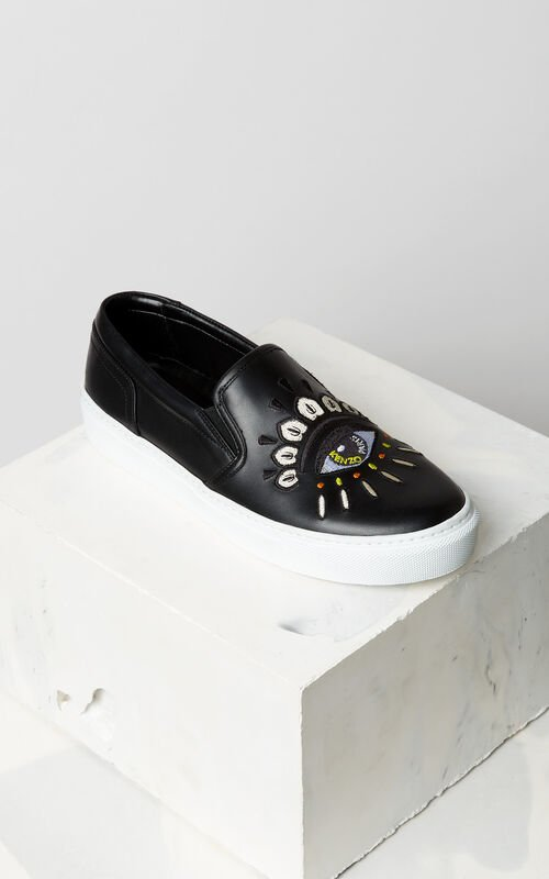 BLACK Eye leather slip-on for women KENZO