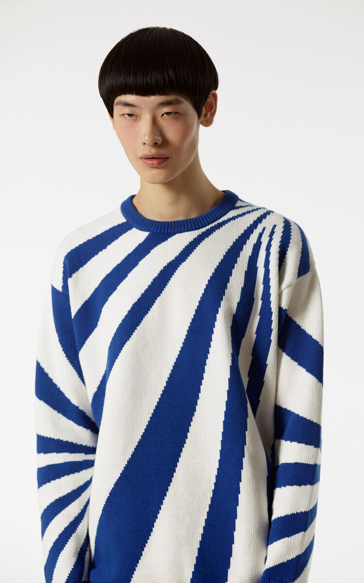 WHITE Psychedelic Intarsia stripe jumper for men KENZO