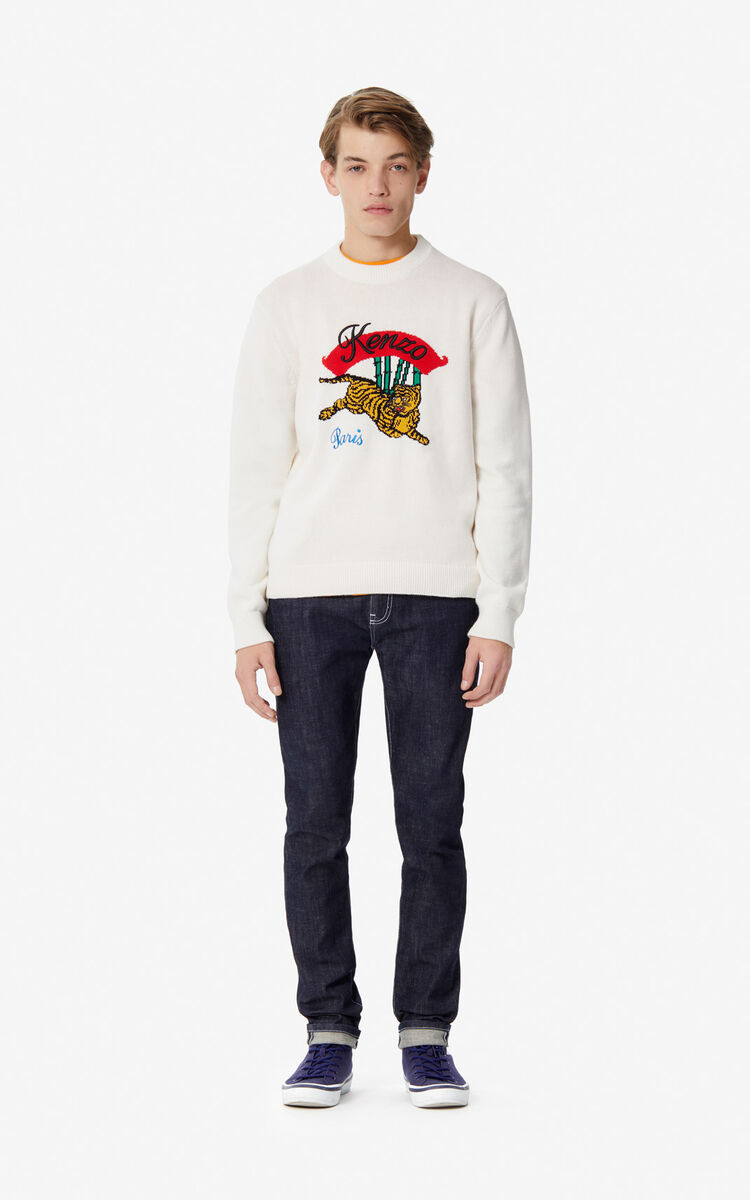 WHITE 'Bamboo Tiger' jumper for men KENZO