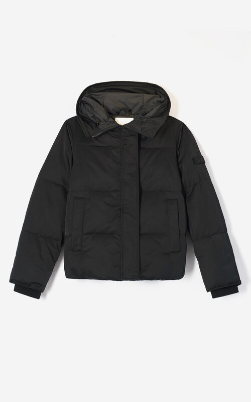 BLACK Hooded quilted down jacket KENZO