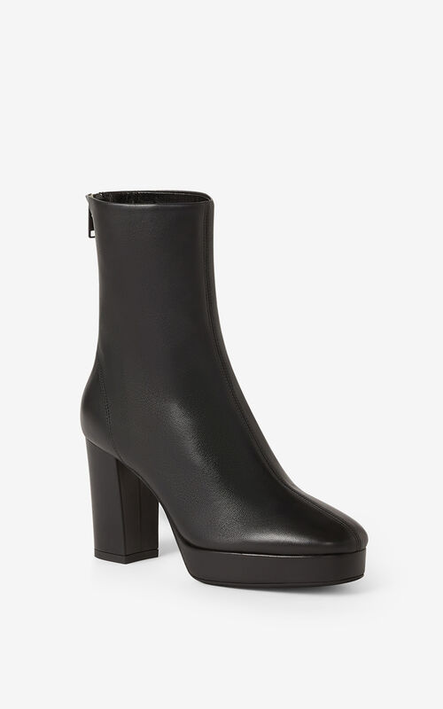 BLACK KENZO GLOVE leather platform ankle boots for unisex