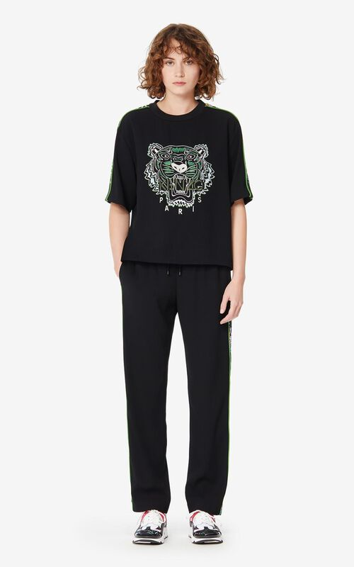 PISTACHE 'Sea Lily' crepe Tiger top for women KENZO