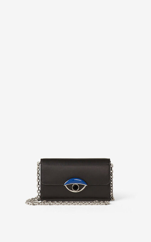 BLACK TALI leather wallet with chain   for women KENZO