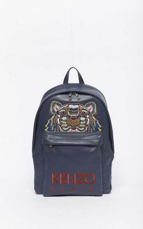 NAVY BLUE Tiger leather backpack for unisex KENZO