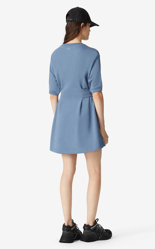 BLUE Tiger Crest fitted sweatshirt dress for women KENZO