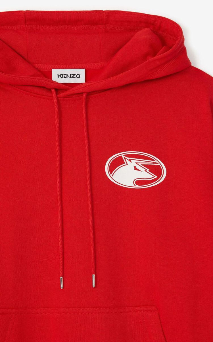 MEDIUM RED 'KENZO Ox' hooded oversize sweatshirt. for men