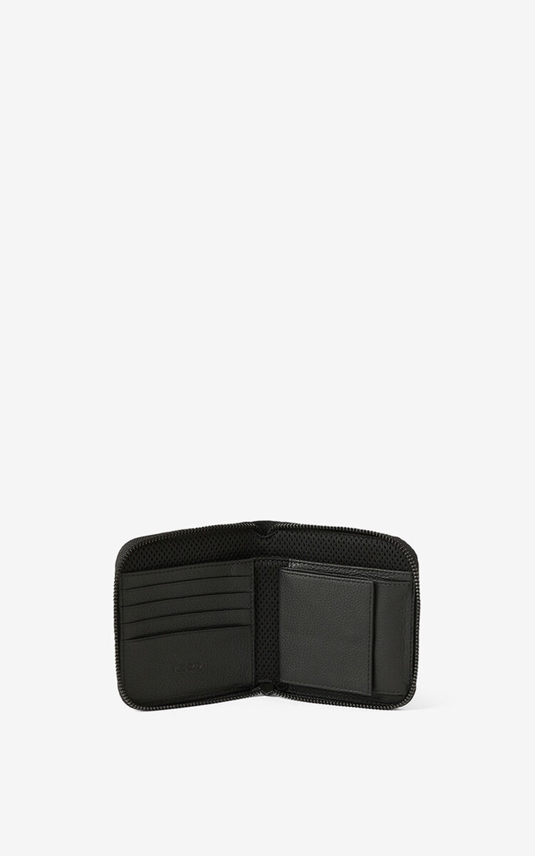 BLACK Courier small zipped leather wallet for women KENZO