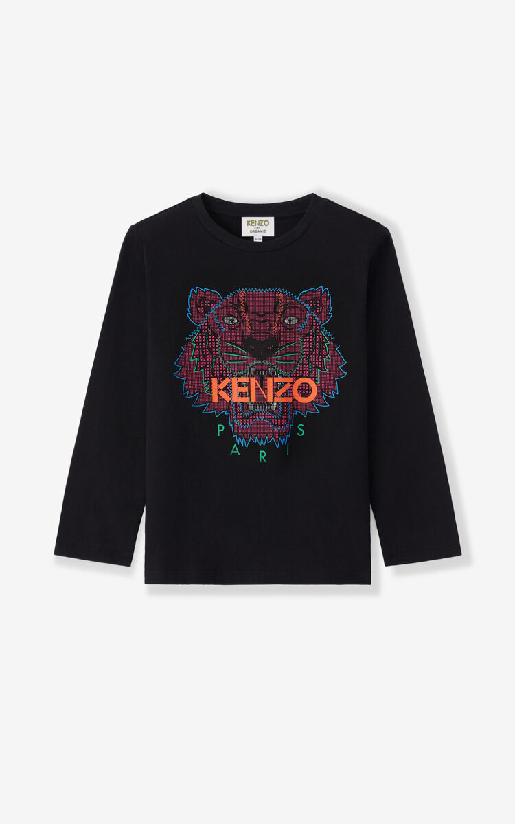 BLACK Tiger long-sleeved T-shirt for men KENZO