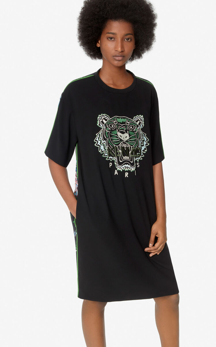 LIME 'Sea Lily' Crepe Tiger dress  for women KENZO