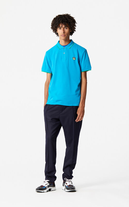 TURQUOISE Regular Tiger Polo for men KENZO