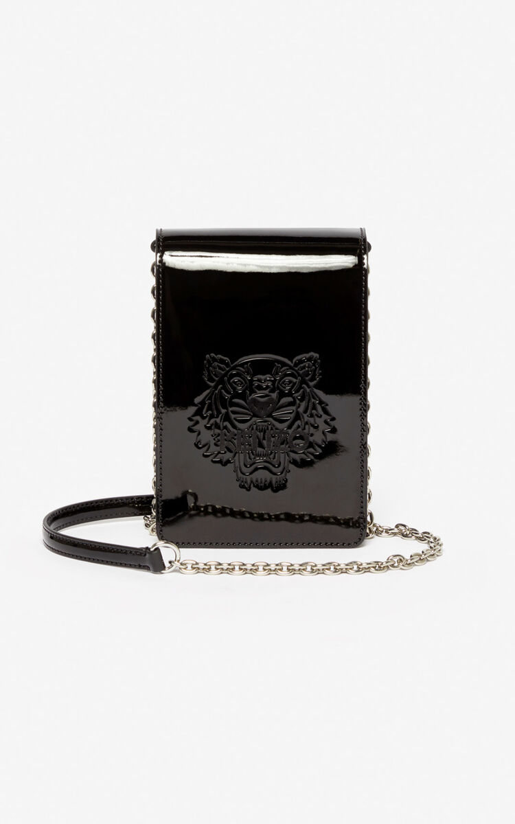 BLACK Phone Holder on Chain Tiger for unisex KENZO