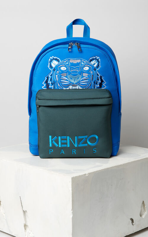 FRENCH BLUE Large neoprene Tiger backpack for unisex KENZO