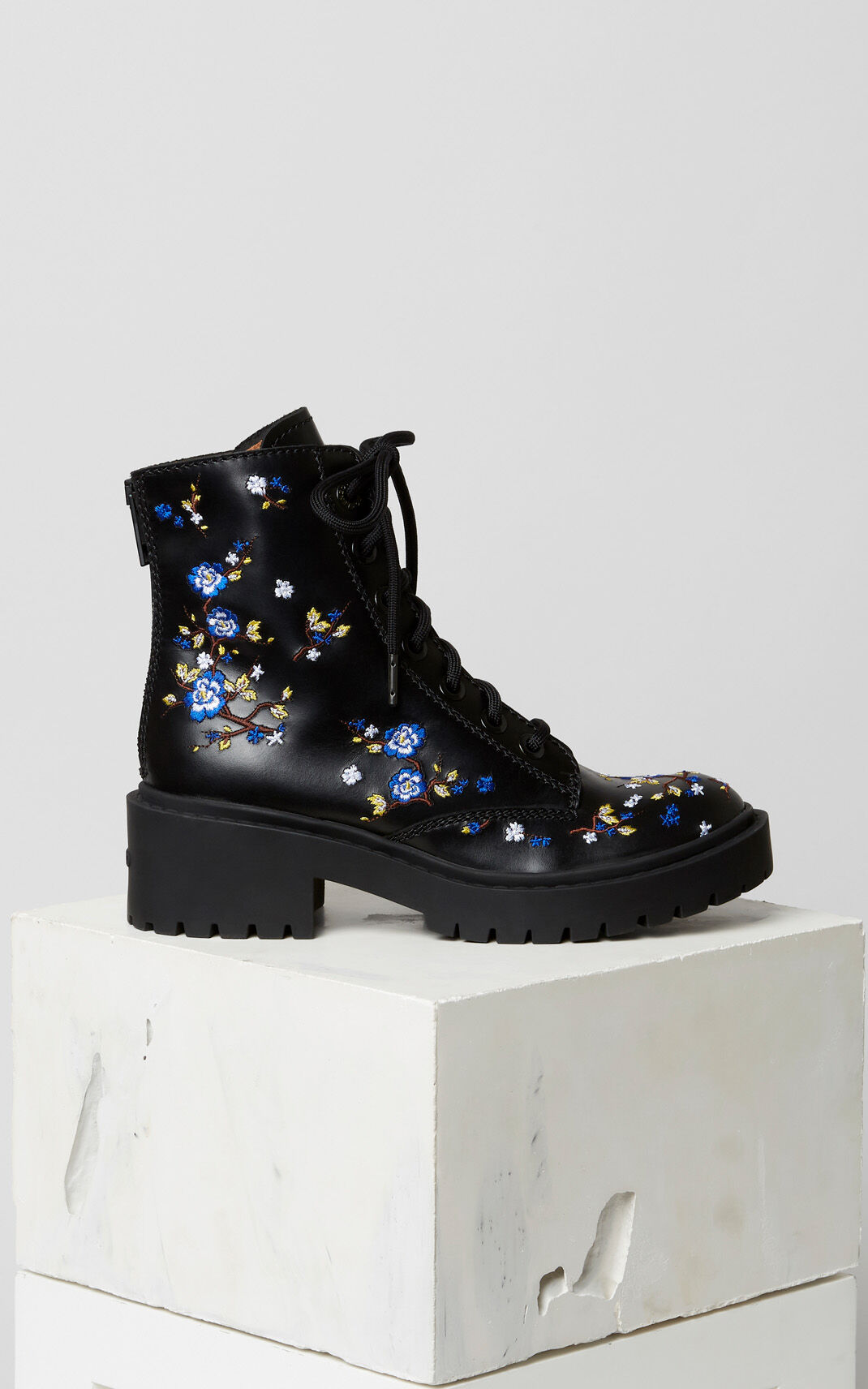 BLACK 'Cheongsam Flower' Pike boots for women KENZO