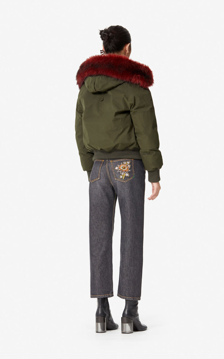 DARK KHAKI Short parka jacket with hood for women KENZO