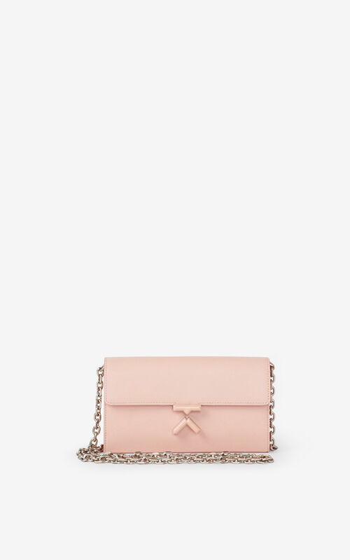 FADED PINK KENZO K leather wallet on a chain    for women