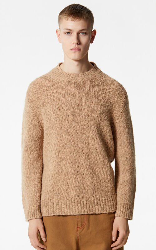 DARK CAMEL Wool and mohair jumper for men KENZO