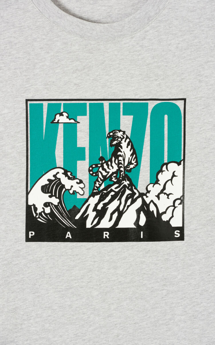 PEARL GREY 'Tiger Mountain' T-shirt for women KENZO