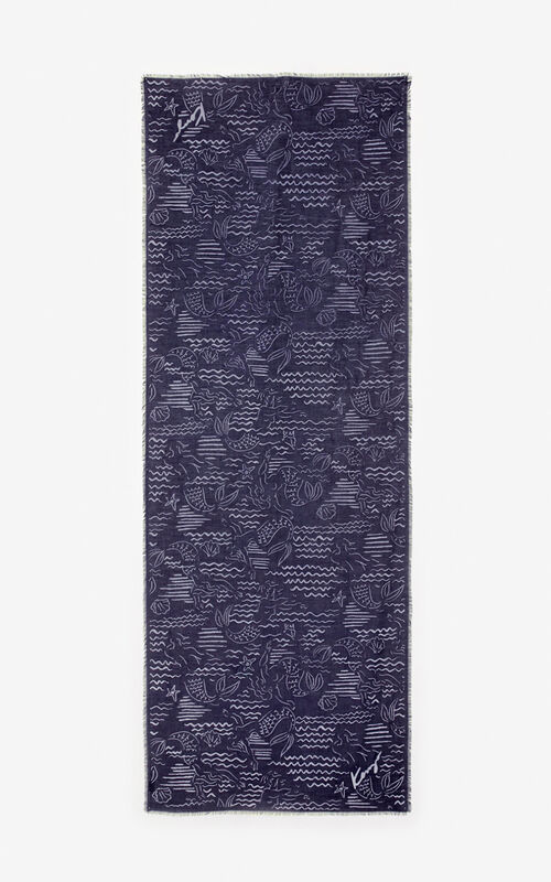 NAVY BLUE 'Mermaids' scarf for unisex KENZO