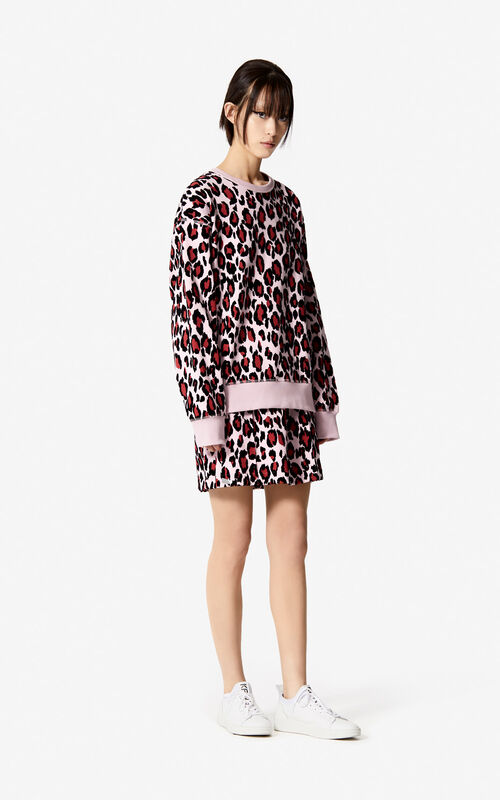 PASTEL PINK 'Leopard' skirt for women KENZO