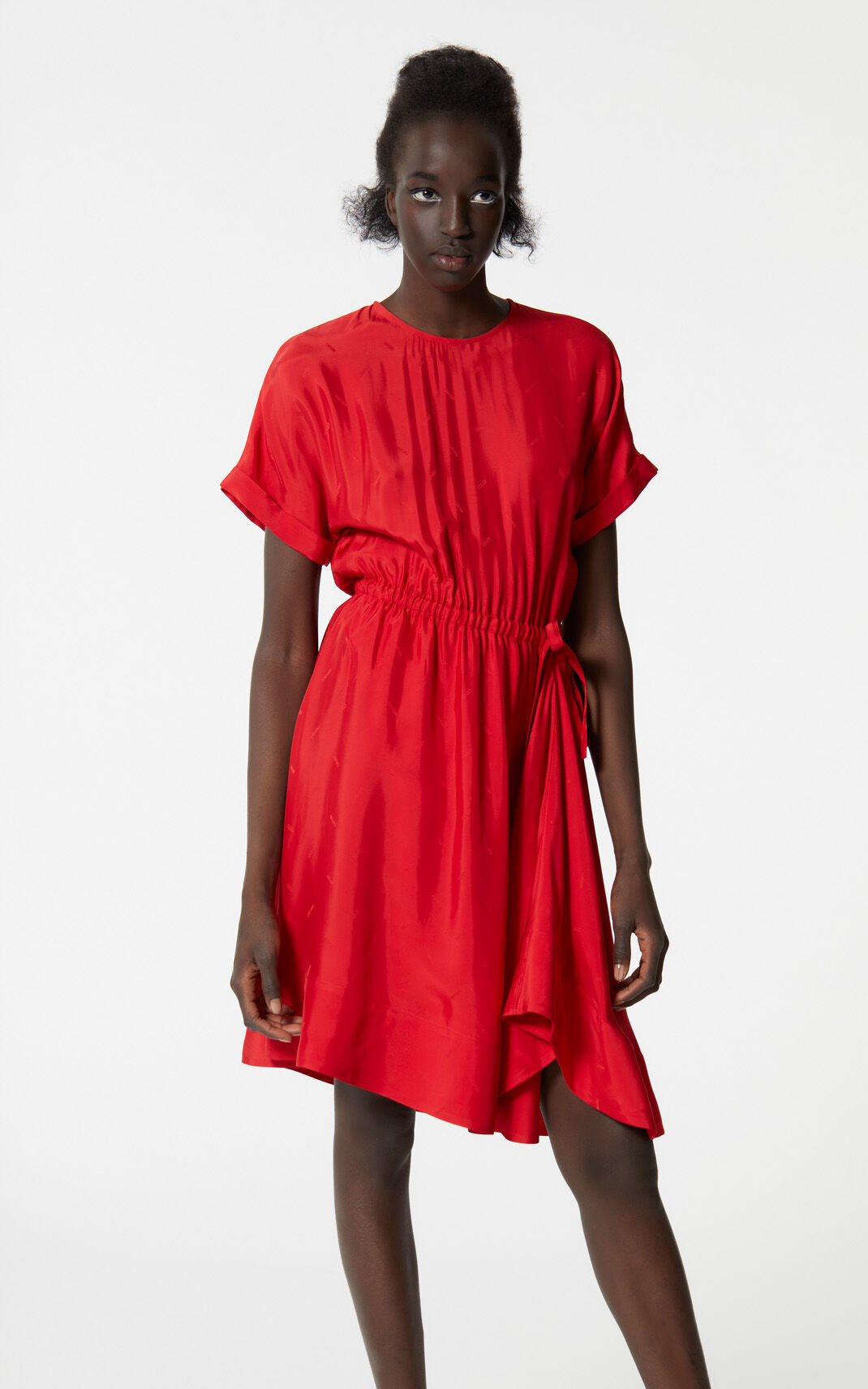 MEDIUM RED KENZO logo flounced dress for women