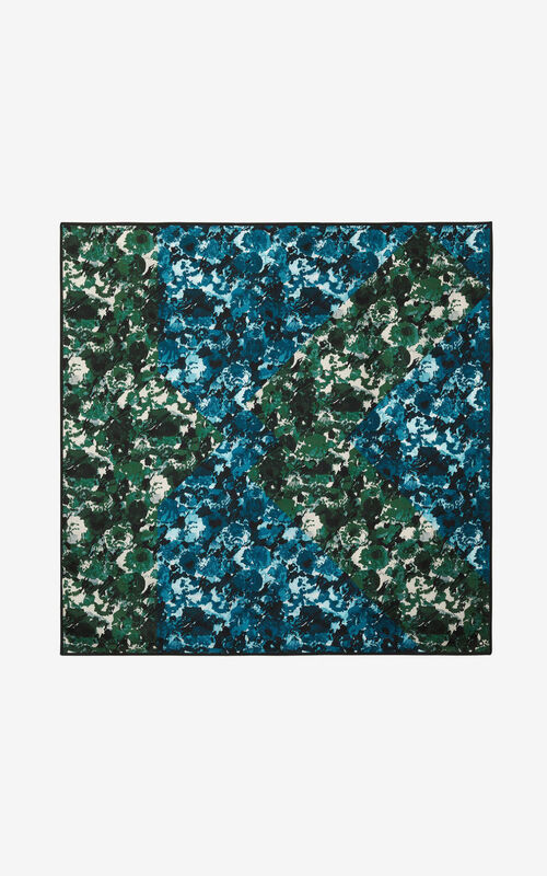 NAVY BLUE 'Aquarelle' silk square for unisex KENZO