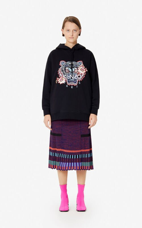 BLACK 'Passion Flower' Tiger hoodie for women KENZO