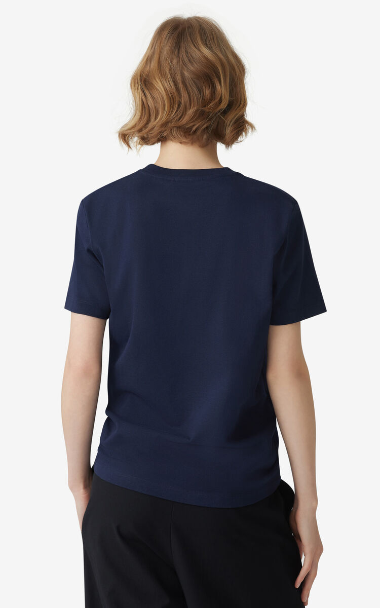 NAVY BLUE Loose embroidered Tiger t-shirt for women KENZO