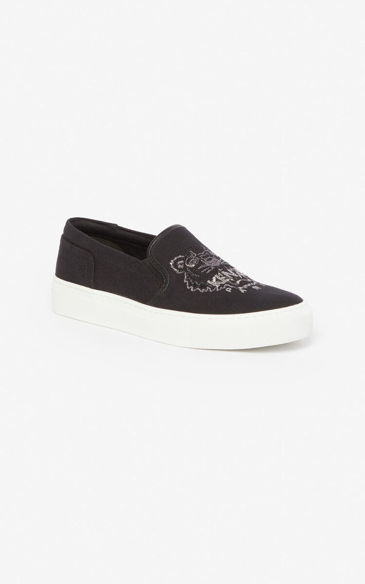 BLACK Tiger slip-ons for unisex KENZO