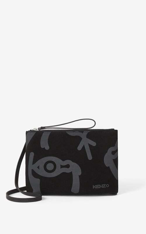 BLACK KENZO Arc canvas pouch and shoulder strap for women