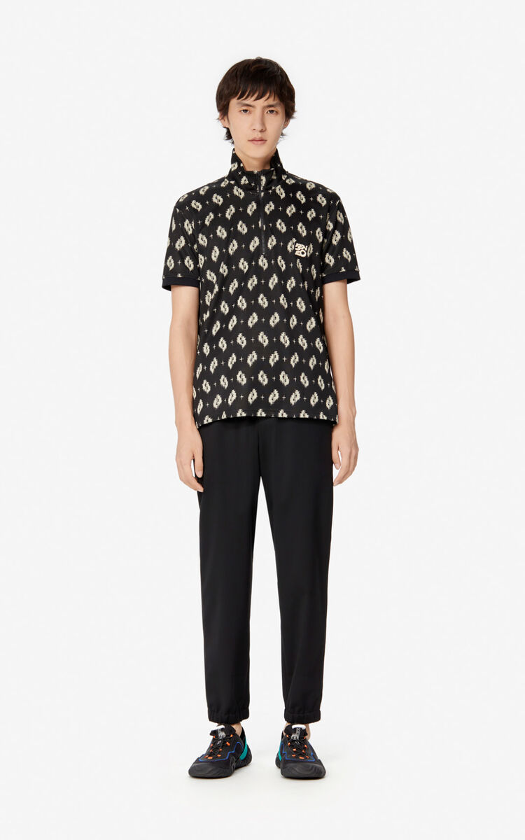 BLACK 'Ikat' polo shirt for men KENZO