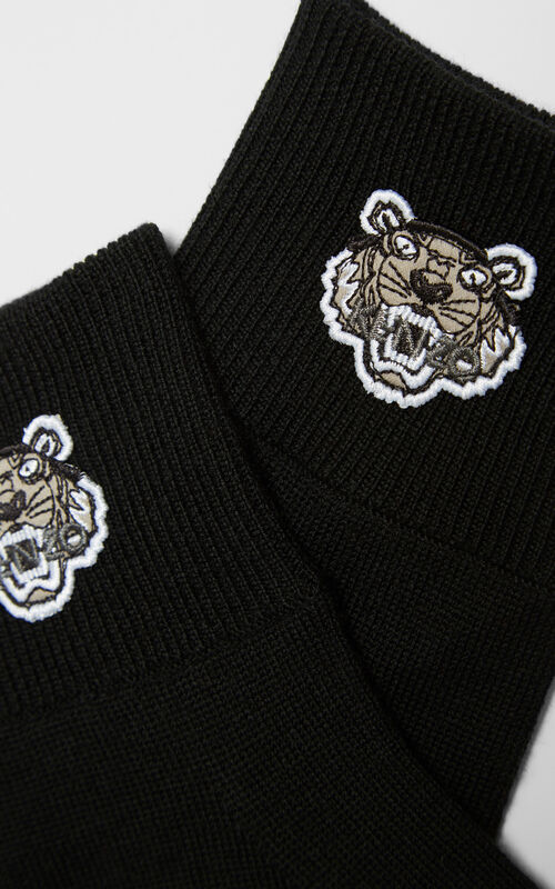 BLACK Tiger Crest Gloves for unisex KENZO