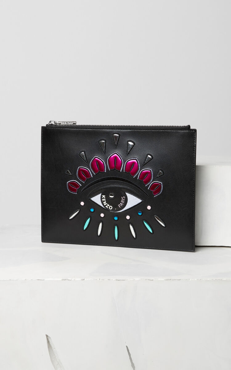 BLACK A4 Eye clutch in leather for unisex KENZO
