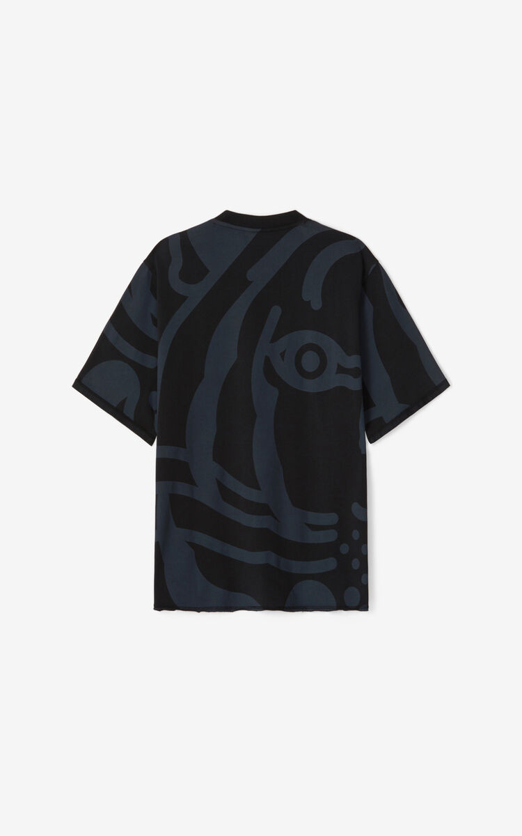 BLACK K-Tiger T-shirt for men KENZO