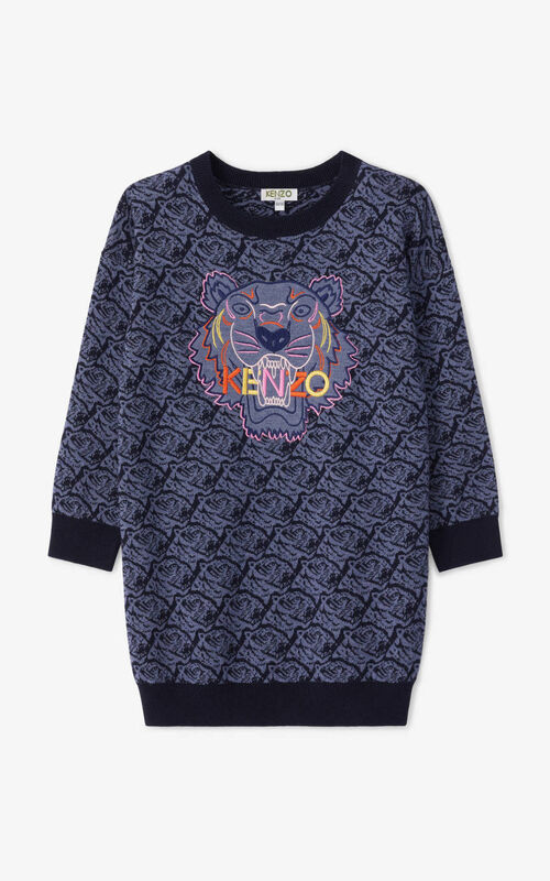 NAVY BLUE Tiger sweater dress for unisex KENZO