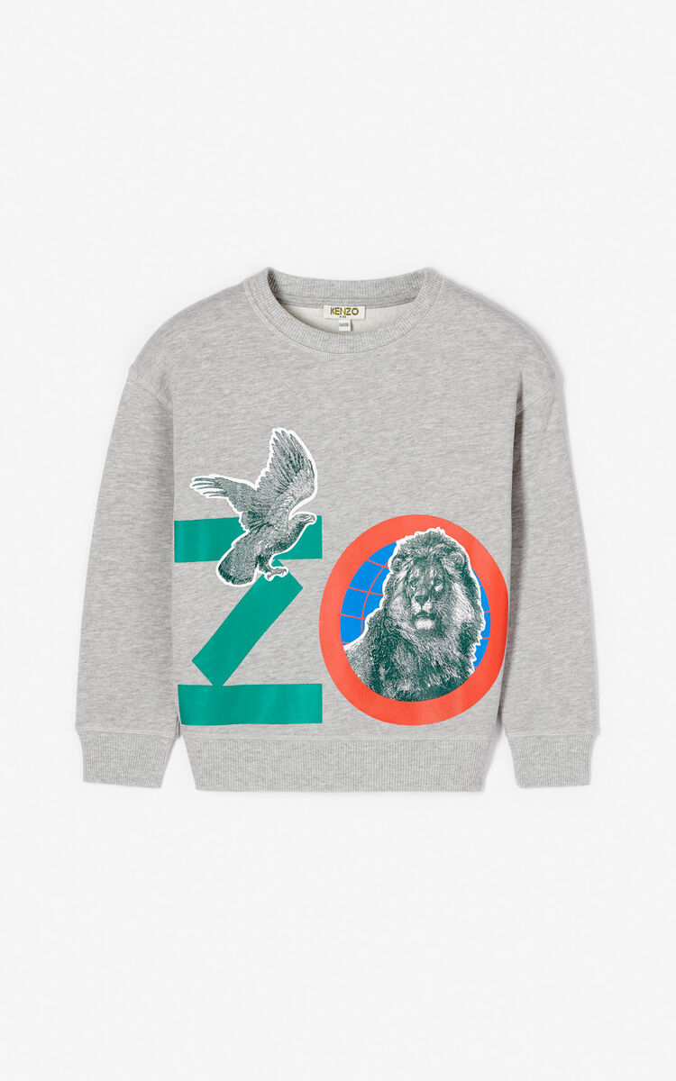 MIDDLE GREY 'Crazy Jungle' sweatshirt for women KENZO