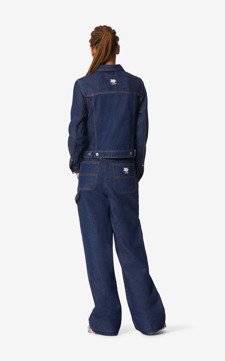 NAVY BLUE Raw denim trousers for women KENZO