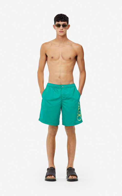 0154da4ca ... GRASS GREEN KENZO Logo swim trunks for men