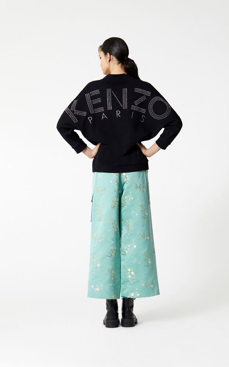 BLACK KENZO Logo sequinned sweatshirt for women