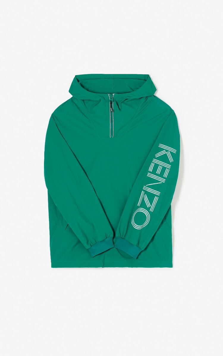 GRASS GREEN KENZO Logo windbreaker for men