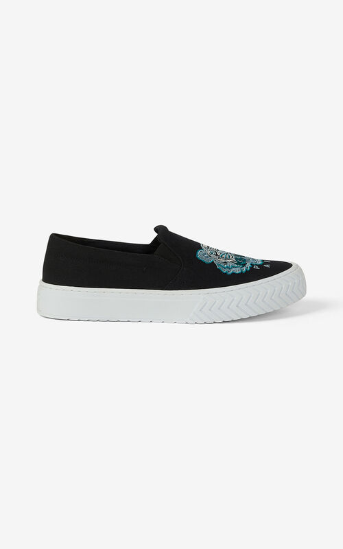 BLACK Canvas slip-on K-Skate Tiger trainers for men KENZO