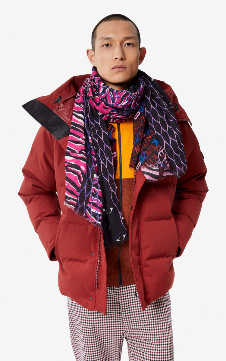DEEP FUSCHIA Multi icons large stole for unisex KENZO