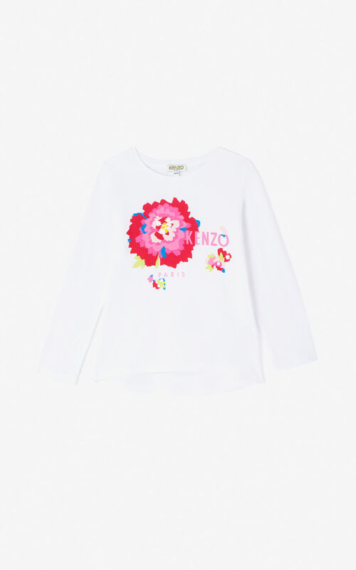 WHITE 'Japanese flower' T-shirt for women KENZO
