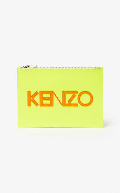 LEMON A4 KENZO Colorblock leather clutch for unisex