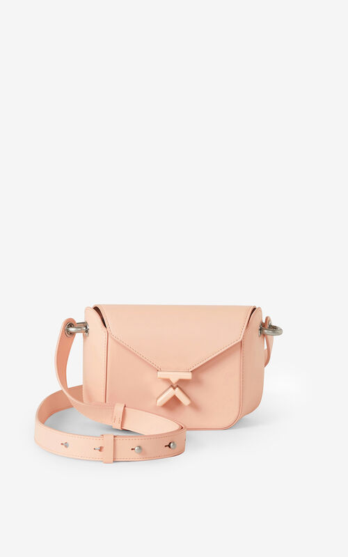 FADED PINK KENZO K small leather crossbody bag for unisex