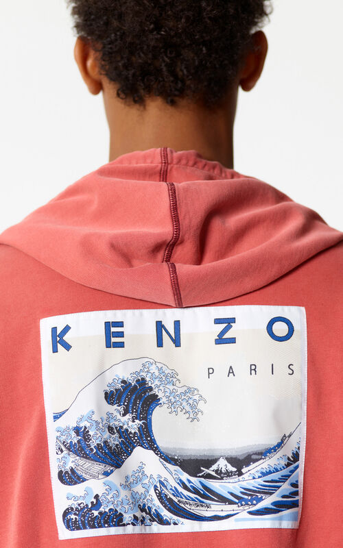 MEDIUM RED Zip-up 'Kanagawa Wave' sweatshirt for men KENZO