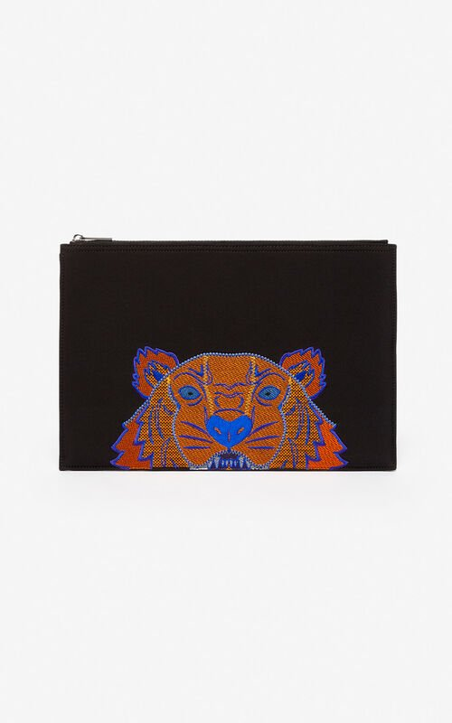 BLACK Tiger briefcase in neoprene  for unisex KENZO