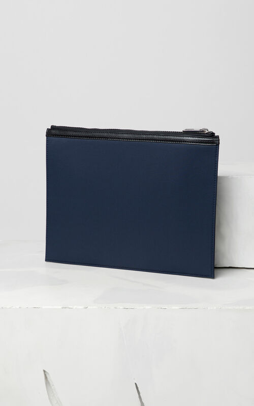NAVY BLUE A4 KENZO Logo clutch for unisex