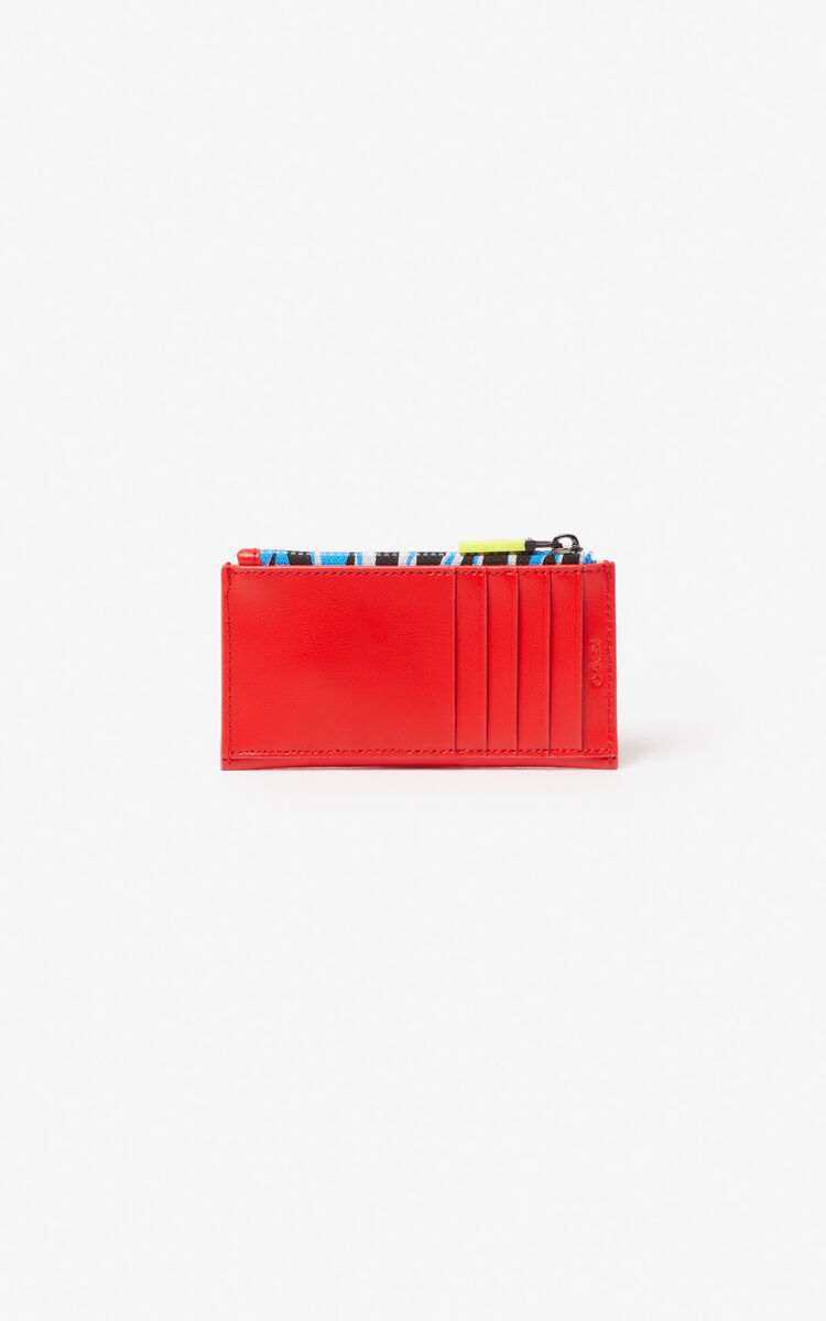 MEDIUM RED 'Tiny Tiger' zipped leather card holder は ユニセックス KENZOのために