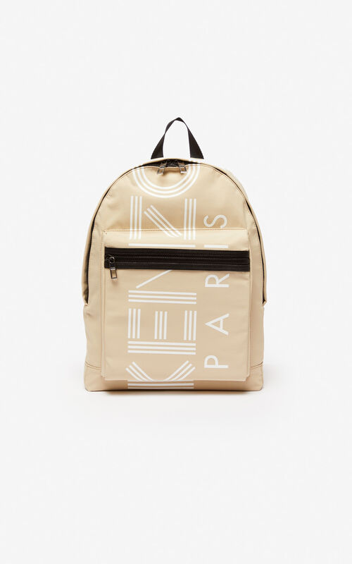 BEIGE Large KENZO Logo backpack for unisex